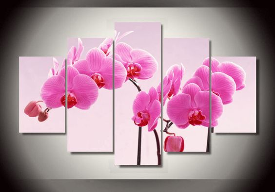 Style Your Home Today With This Amazing 5 Pieces Multi Panel Modern Home Decor Framed Pink Orchid Flowers Wall Canvas Art For $99.98  Discover more canvas selection here http://www.octotreasures.com  If you want to create a customized canvas by printing your own pictures or photos, please contact us.