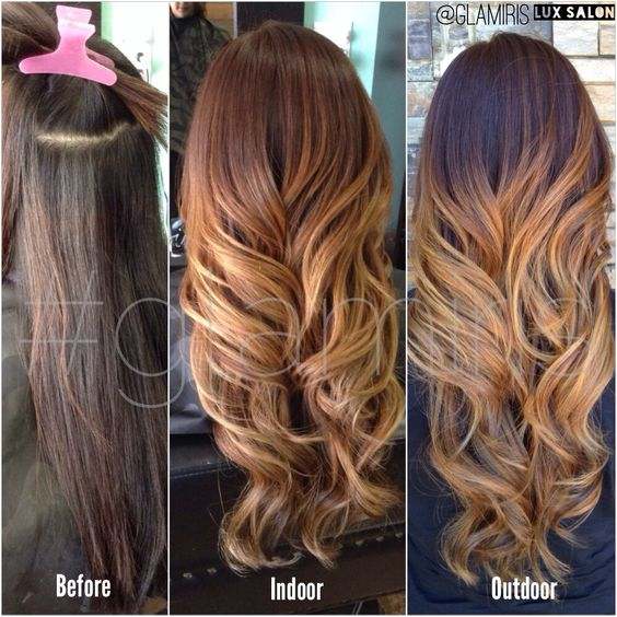 Red brown mahogany base with caramel melting into golden beige blonde ombre