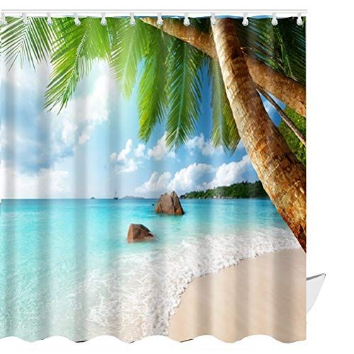 Abxinyoule Beach Scene Shower Curtain Tropical Beach Them Https