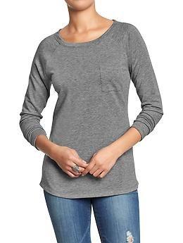 Womens Long-Sleeved Pocket Tees