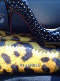 Jil Sander Leopard Clutch with spikey patent Louboutins