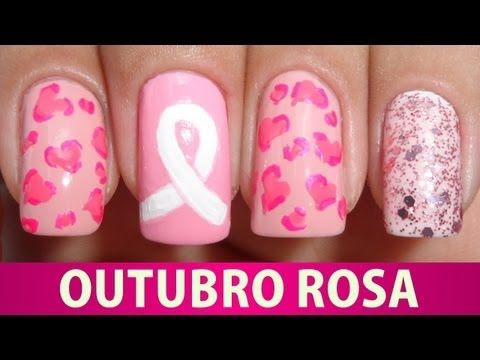 ▶ Unhas Decoradas - Outubro Rosa 2013 - YouTube