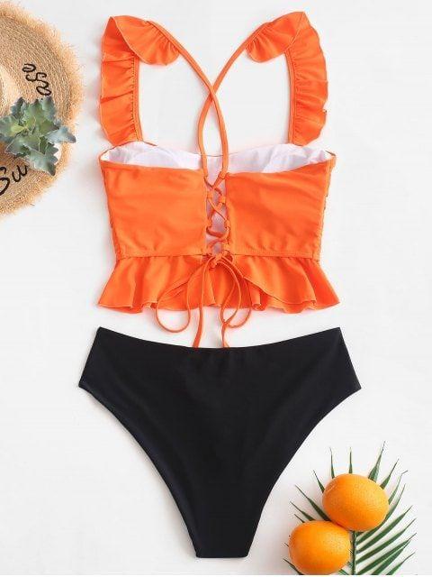Tankini Con Volantes Y Encaje Pumpkin Orange Sea Green Tankini