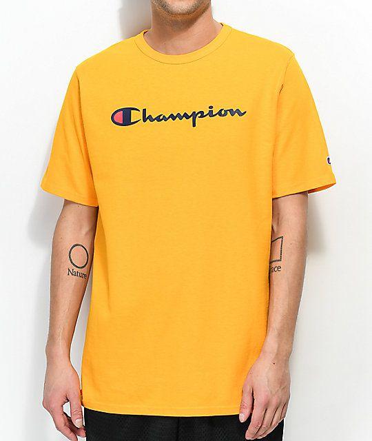 Champion Logo Print Mens Short Sleeve T-Shirt Crew Neck Top Navy Fashion