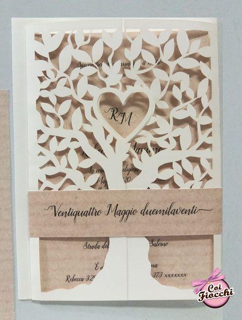 Partecipazioni Matrimonio Albero Della Vita.Partecipazione Nozze Albero Della Vita Intagliato Con Cuore