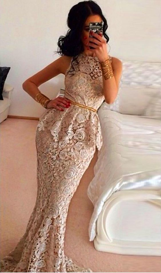 Wholesale New Sexy 2015 Mermaid Sheer Crew Prom Dresses Long Lace Evening Dresses With Gold Sashes Sleeveless Peplum Formal Evening Gown Plus Size, Free shipping, $144.51/Piece | DHgate Mobile