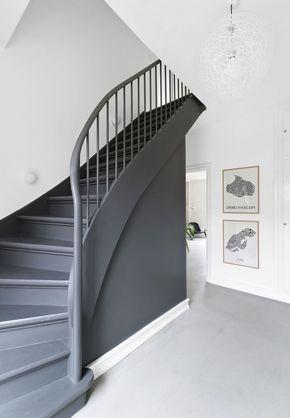 Peinture Escalier Et Balustrade Gris Anthracite Contrastant Avec L Interieur Blanc Montee D Escalier Monochrom Peinture Escalier Escalier Peint Monte Escalier