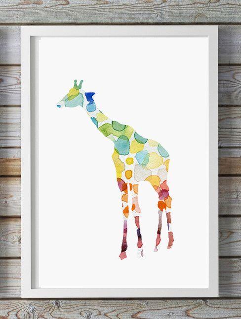 Girafe aquarelle peinture - Giclee Print - Home Decor, decoration ...