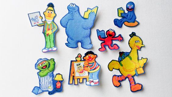 Sesame Street School Fabric Iron On Appliques (A)