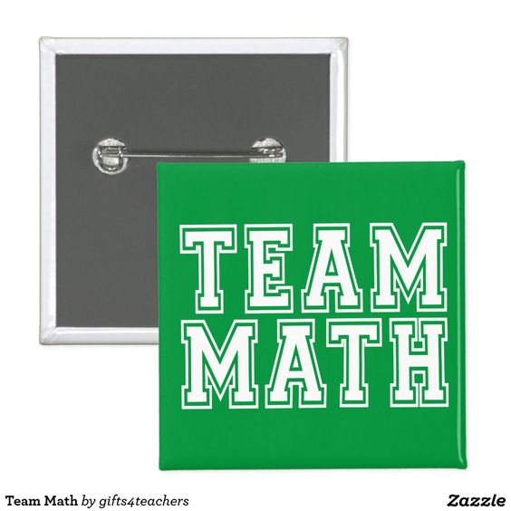 Green and White Team Math Pinback Button