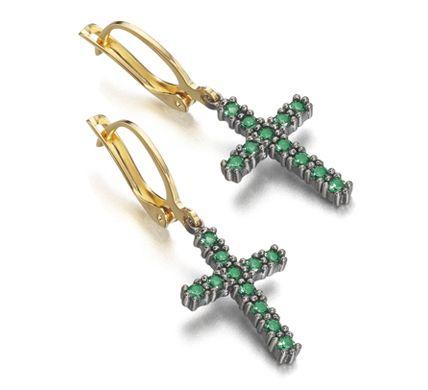 Pendentes Cruz de Plata  Recubiertos de Oro de 18kt y Rutenio Piedras color azul Zafiro #cruces #pendientes #joyas  www.leCarre.es