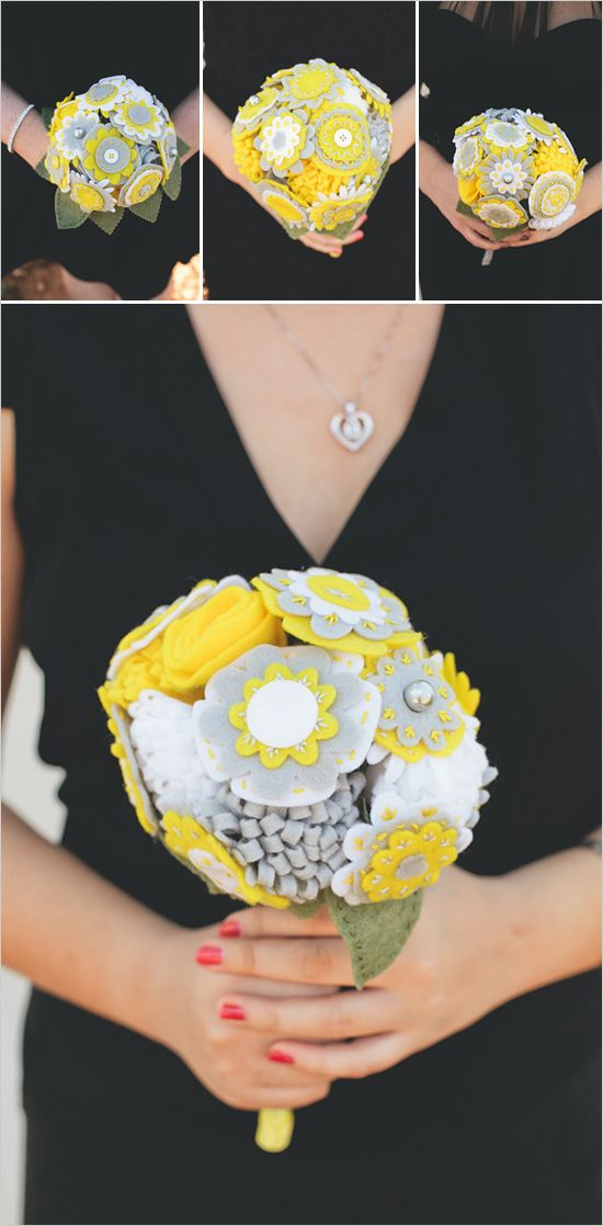 Yellow and Grey Felt Flower bouquet - i know someone who would love some hair clips or baby headbands in these colors :)