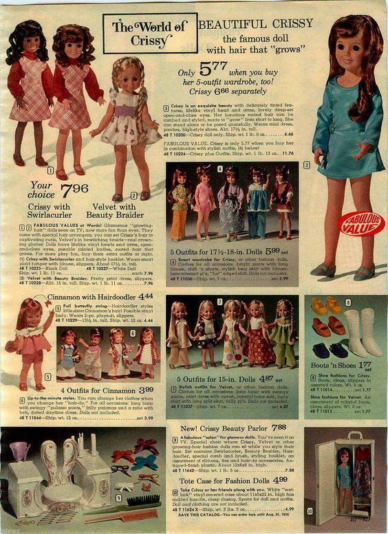 1973 Paper Ad Doll Crissy Swirlacurler Velvet Beauty Braider MS Fashion Jennifer…