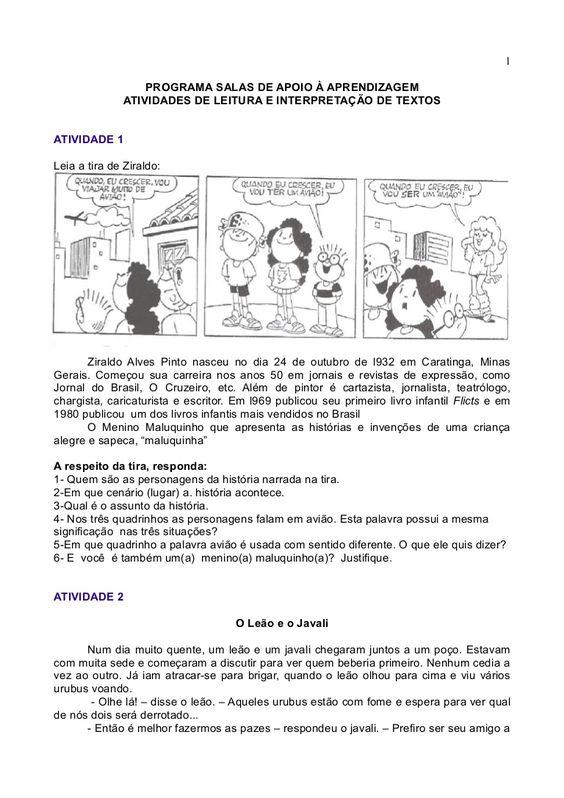 Atividades De Leitura E Interpretacao De Textos Interpretacao De