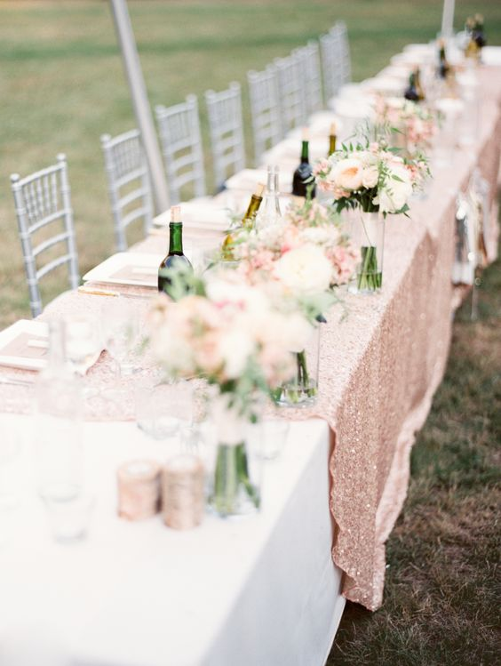 wedding table ideas - rose gold glitter sequins table runner : fabmood.com