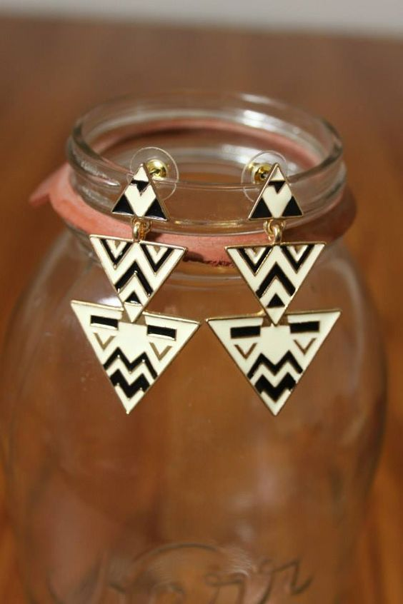 NEW WEB ARRIVAL!!  Tribal Triangle Earrings, $12.50  Purchase here > http://www.shoppage6.com/products/tribal-triangle-earrings