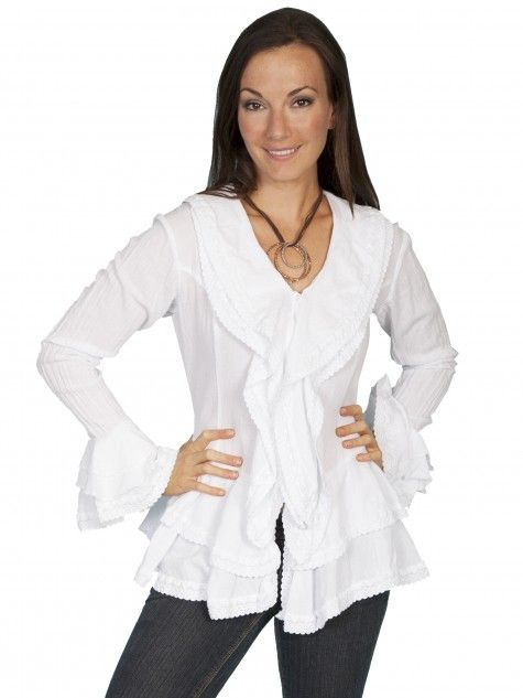 Scully® Women's White Cotton Long Sleeve Ruffle Western Blouse ...
