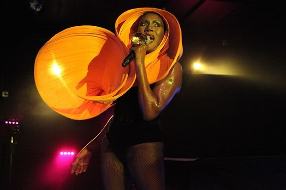 We're pretty sure that's not a Halloween costume. Grace Jones dons her standard over-the-top headpiece, with a touch of bling, during a performance on Oct. 30 in London