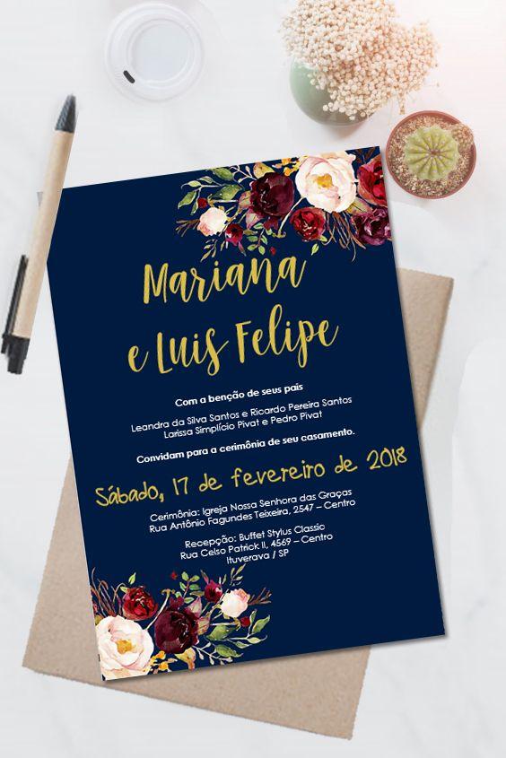 Convite Casamento Marsala Floral Editavel No Word 0010 Com