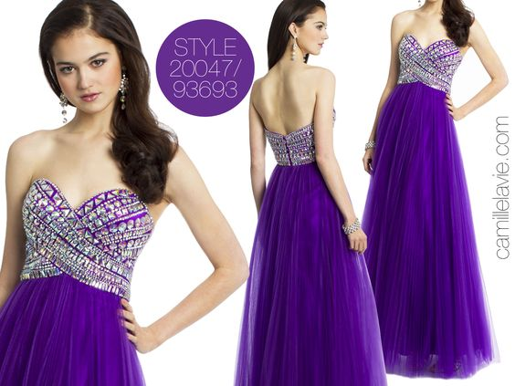 Camille La Vie Empire Strapless Prom Dress with Pleated Tulle Skirt in Rich Purple. GORGEOUS!