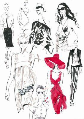 Jaqueline Bissett - fashion drawings