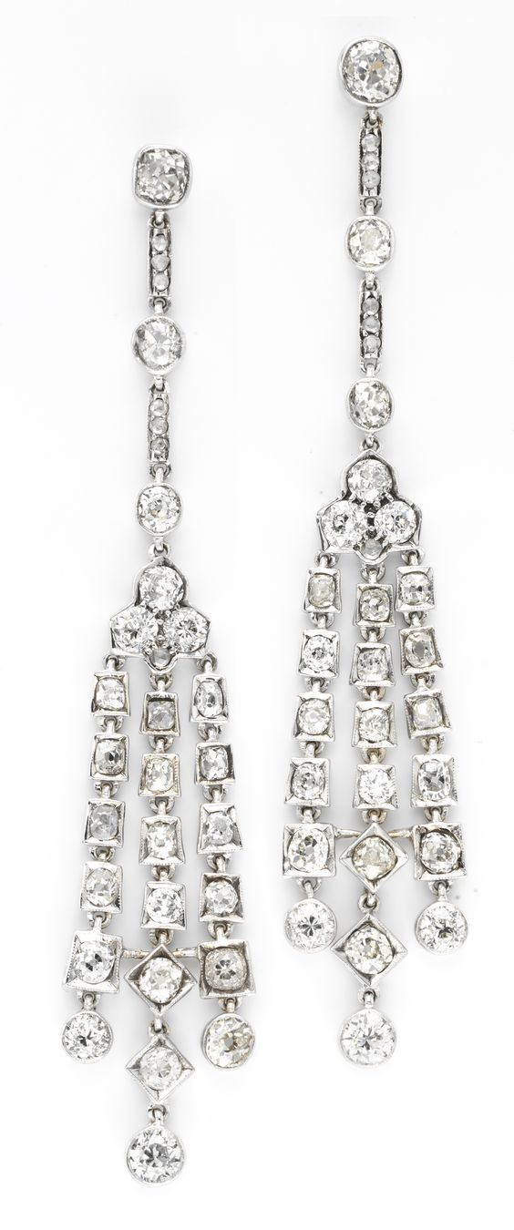 A Pair of Antique Diamond Ear Pendants, circa 1890.  Available at FD. www.fd-inspired.com