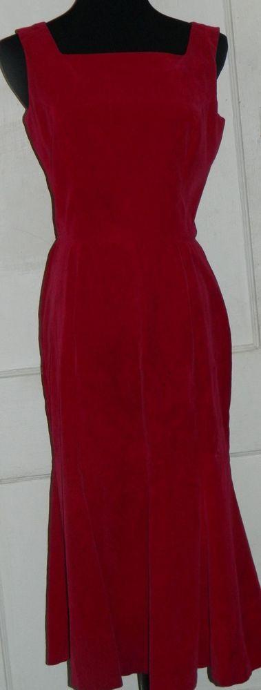 """AMAZING """"Koret of California""""Vtg 50s/60s Red Velvet Dress Tulip  -Bust 36/M"""