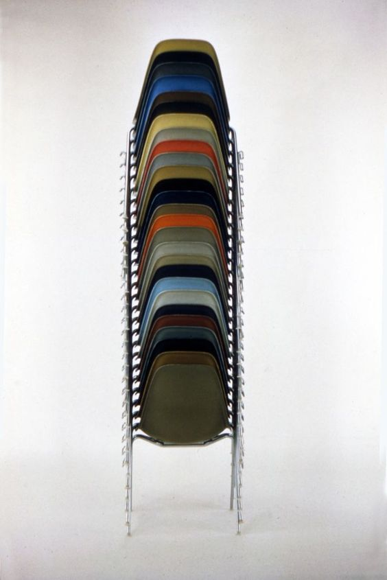 Charles and Ray Eames: Stacking Chairs 1957      Follow http://thevintagologist.tumblr.com/   more than 10.000 posts of vintage lifestyle, design, fashion, art, cars, architecture, music and stuffs