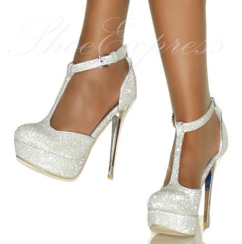 Details about WOMENS - T-BAR ANKLE STRAP silver HIGH HEEL PARTY