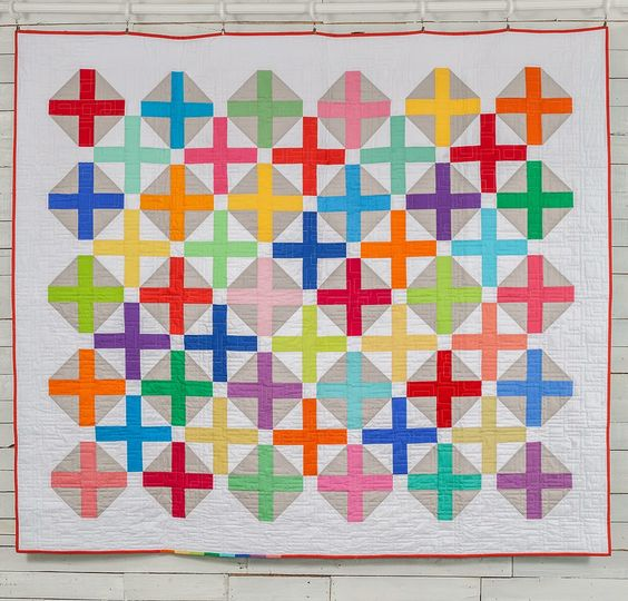 Colourful cross quilt