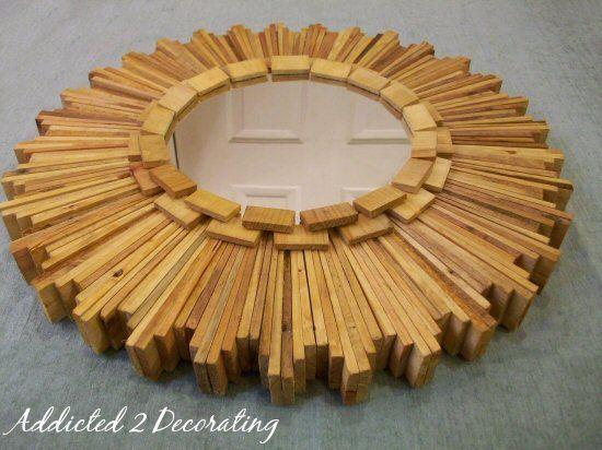DIY wood shim sunburst mirror: Diy Crafts, Wooden Shim, Cat Scrafts, Blog Addicted2Decorating, Wood Shim, Craft Ideas, Diy Projects
