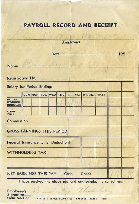 Buddy Holly Signed Payroll Receipt Dated August 28, 1956, this - payroll receipt