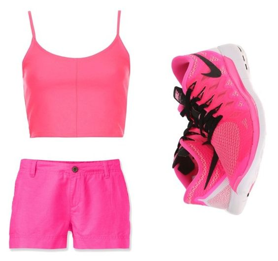 """""""Gym class"""" by giavann554 ❤ liked on Polyvore featuring beauty, NIKE, The North Face and Topshop"""