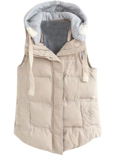 Women's Winter Vest Outwear with Drawstring Detachable Hood