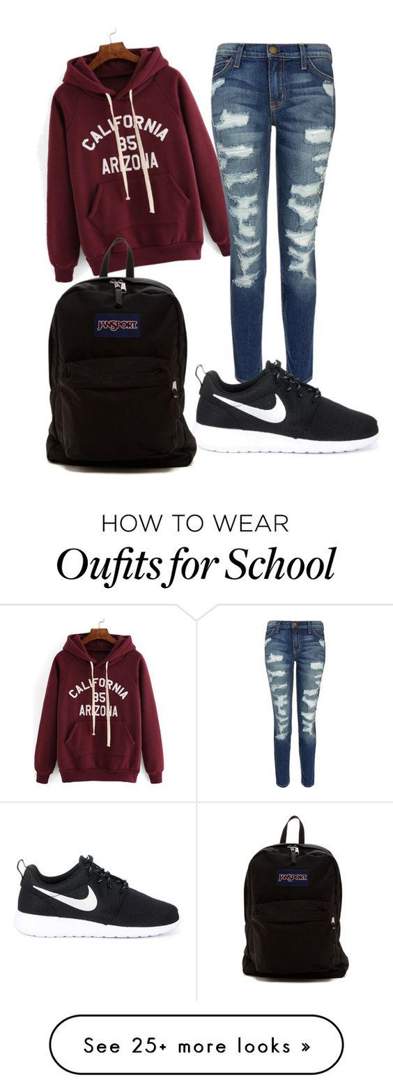 """""""school outfit"""" by babekim on Polyvore featuring Current/Elliott, NIKE and JanSport"""