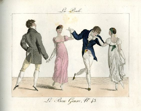 Plate 43: two couples dancing holding hands in a line. 1812  Hand-coloured etching: