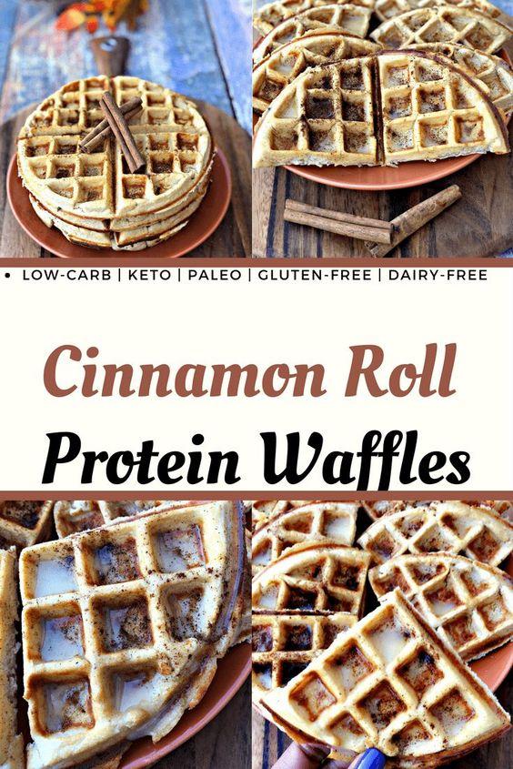 Cinnamon Roll Protein Waffles