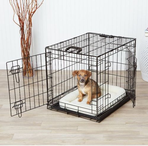 Black-24-2-Door-Pet-Cage-Folding-Dog-w-Divider-Cat-Crate-Cage-safety-security