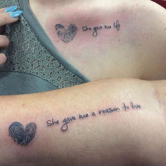 Cute Mother Daughter Affectionate Tattoos Mother Daughter