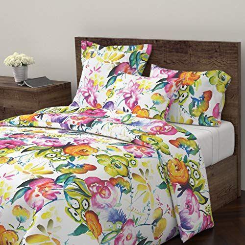 Summer Floral Duvet Cover Watercolor Floral Large Scale Floral