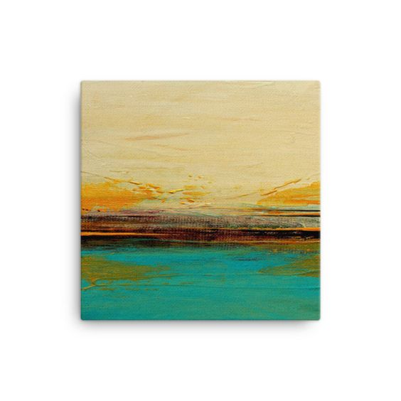 Abstract Seascape Canvas – Blue and White Wall Art – Canvas Print ...