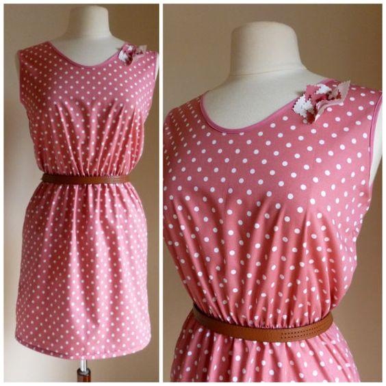 Polkadot Dusty Pink Tea Dress  1940's inspired by ErikaShaw, $49.00