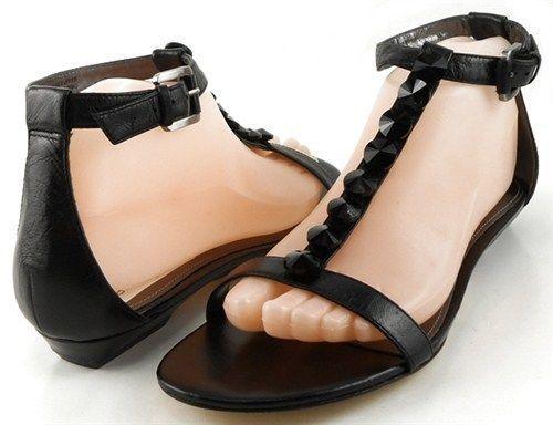 VIA SPIGA DUBLIN Black Jeweled Womens Designer T-Strap Flat Gladiator Sandal 8