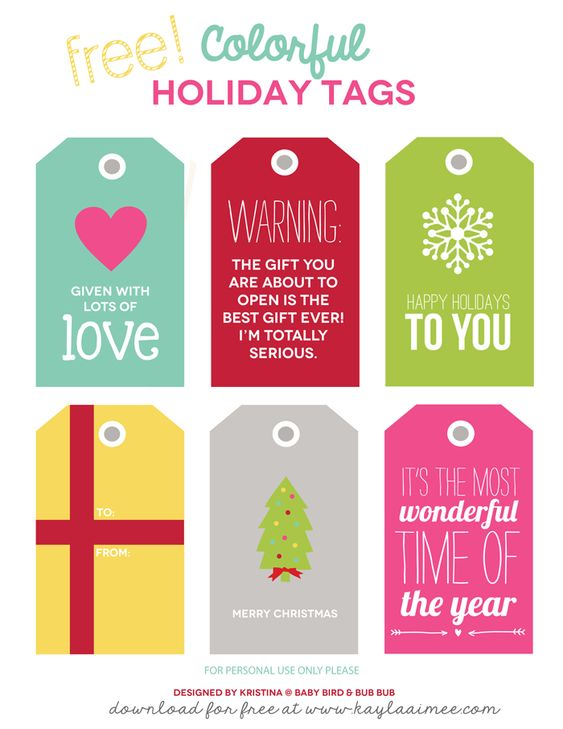 INSTANT Download-CHRISTMAS /'Modern/&Colorful/' Gift Tag Collection Printable PDF