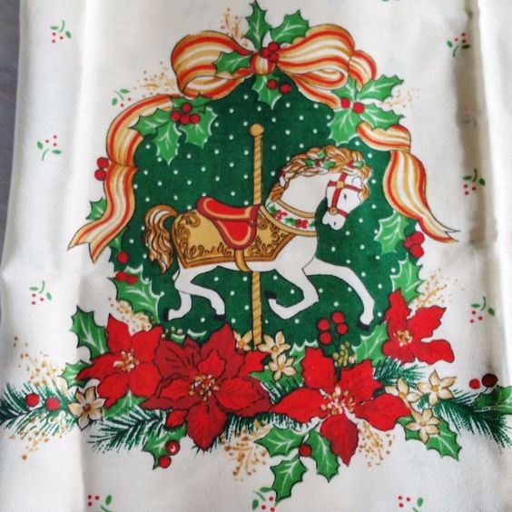 Christmas Tree Carousel Horse Kitchen Window Curtain Panel Set Holly Poinsettia