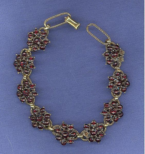Vintage Carved Garnet Glass Bracelet as is goldtone by MICSJWL, $45.00