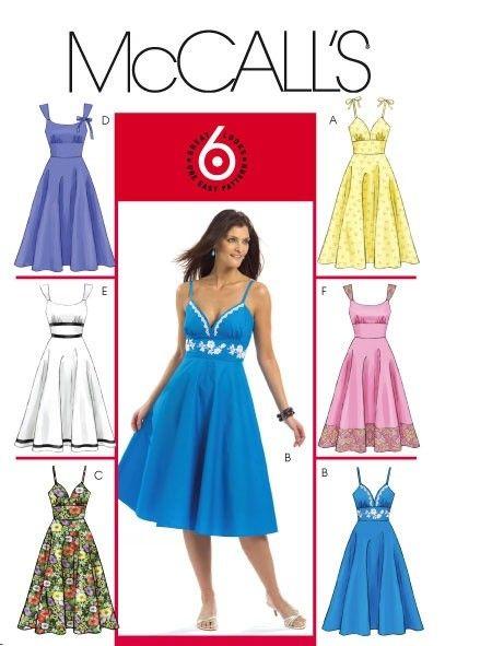 McCalls Dress Pattern 5094 - Summer Dresses with Flared Skirt ...