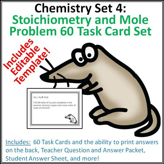 Practice Problem Worksheet for Stoichiometry and Moles – Mole Problems Chemistry Worksheet