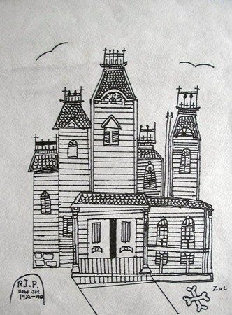 House drawing museums and art on pinterest for Easy haunted house to draw