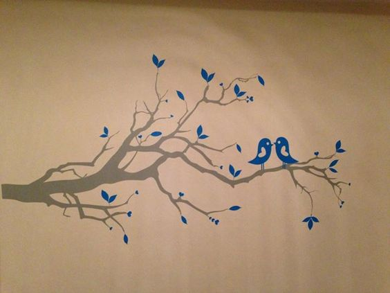 wall art birds on branch